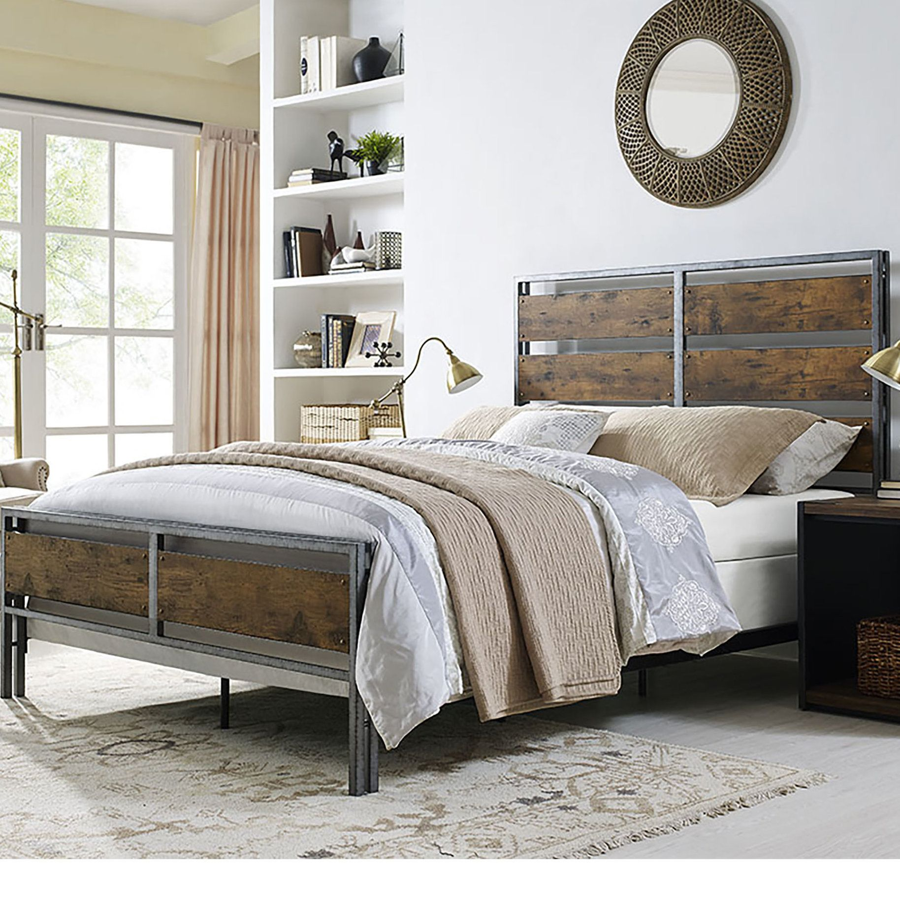 Wilhelmine metal and wood plank queen bed products pinterest