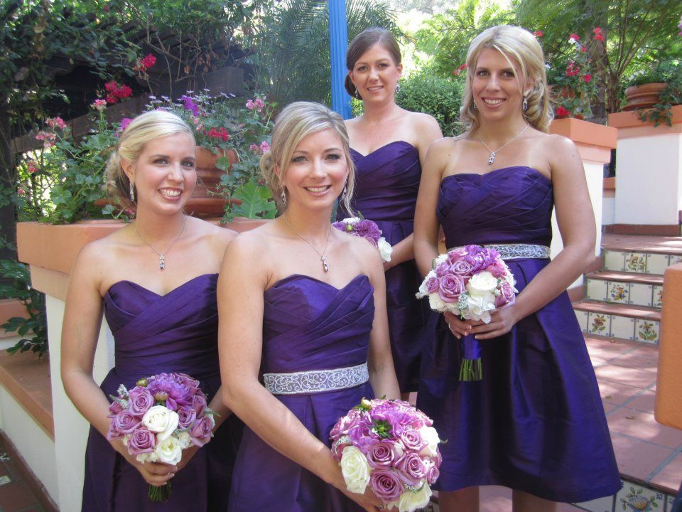 Beautiful bridesmaids in purple #bridesmaids #bouquets #purple ...