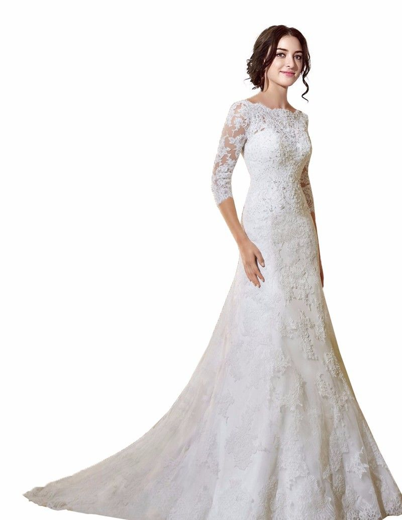 3 4 sleeve lace wedding dress  Click to Buy ucuc White New Arrivel Sheath Mermaid Wedding Dress