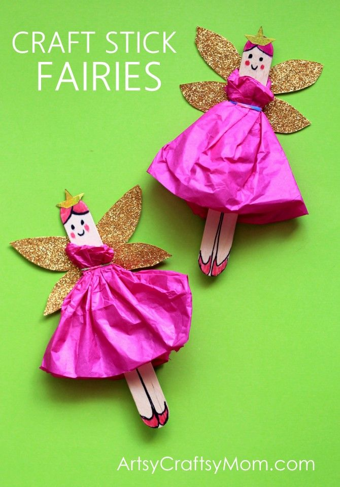 DIY Craft Stick Fairy Craft for kids with Glitter Wings - a Video tutorial