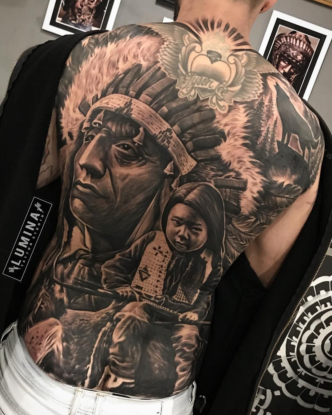 Awesome full back done at lumina_tattoo_studio by dode