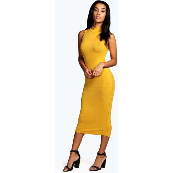 fe5eb6944cf7 Boohoo Basics Billie Turtle Neck Sleeveless Midi Bodycon Dress ( 16) ❤  liked on Polyvore featuring dresses