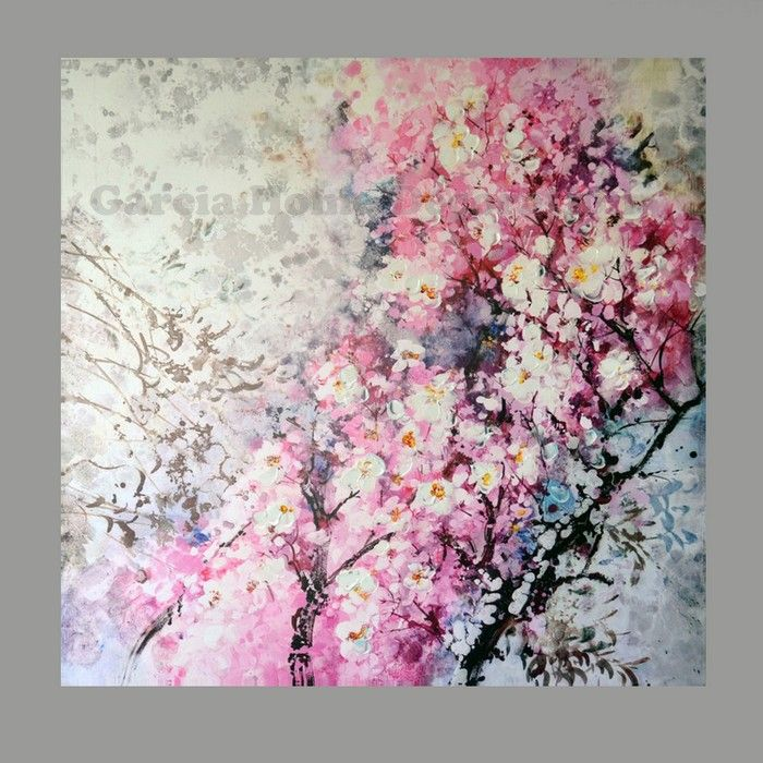 Hand Painted Modern Pink Flowers Oil Paintings On The Canvas Home ...