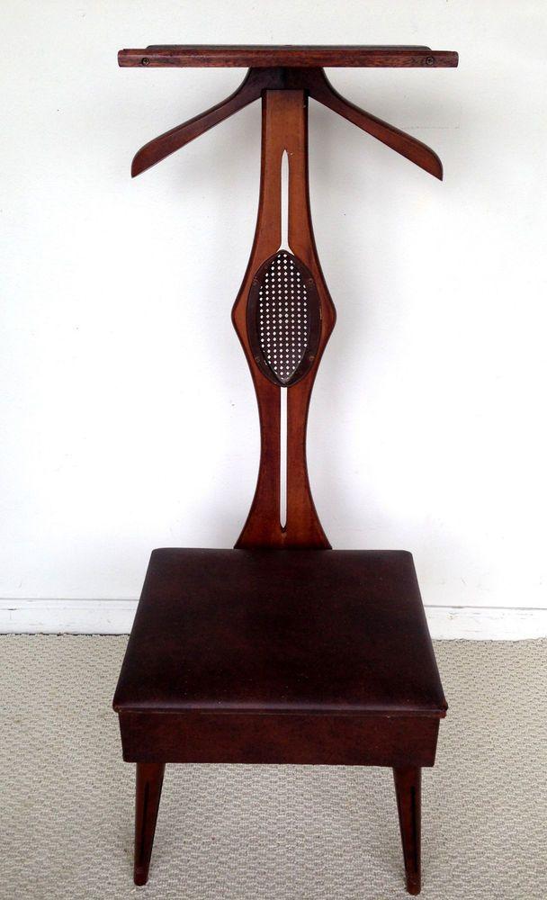 Vintage Butler Valet Gentlemen Chair Mid Century Modern Danish Wood Stool