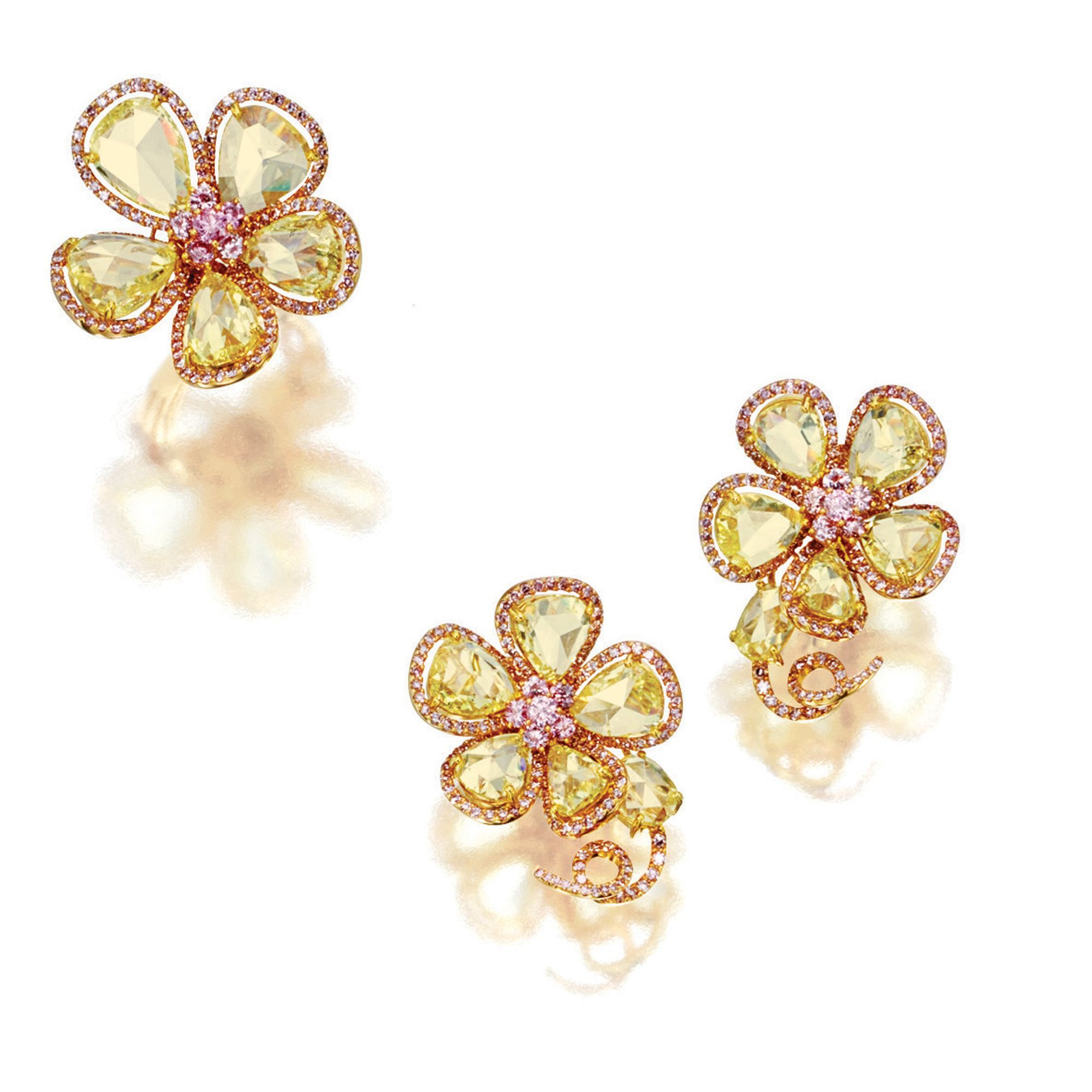 YELLOW DIAMOND AND PINK DIAMOND 'FLOWER' RING AND PAIR OF MATCHING EAR CLIPS   lot   Sotheby's
