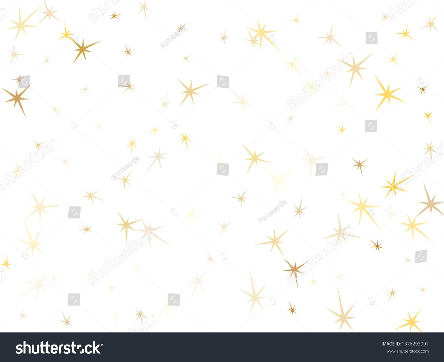 Gold Stars Confetti On White Geometric Metallic Starry Vector Background Shiny Star Sparkles Holiday Print Space Objects Star Confetti Gold Stars Geometric
