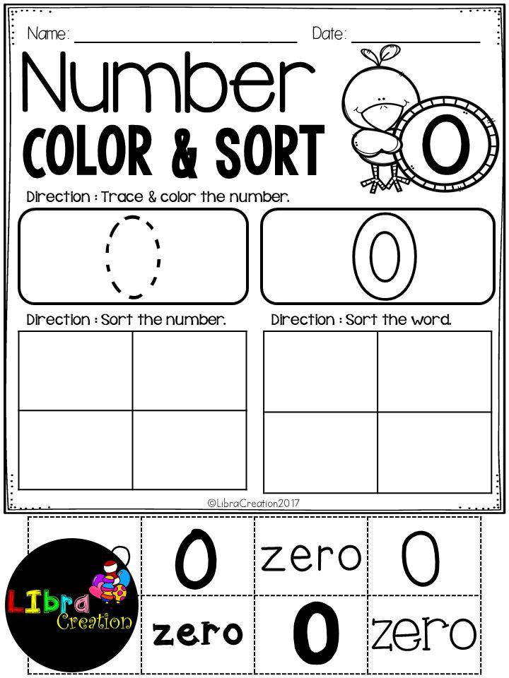 Number 0 - 20 Color & Sort | Number writing practice, Number tracing ...