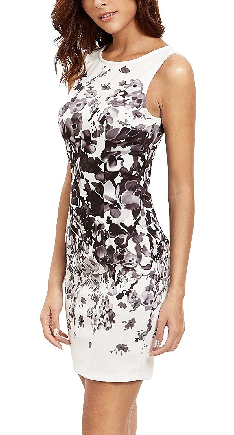 105e7f9d4221b Floerns Women's Floral Print Sleeveless Sexy Bodycon Cocktail Party ...