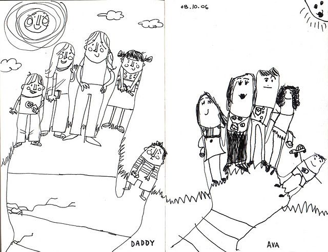 family portraits.working with line.contour drawing.  Need to write lesson plan for this idea! Thank you Ava!