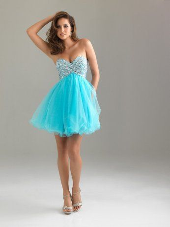 Turquoise Strapless Sweetheart Tulle Beaded Short Prom Dress ...