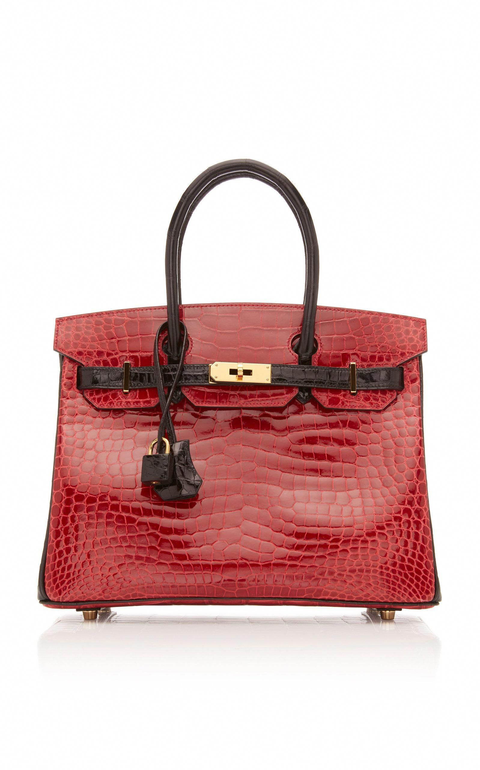 0d0a5389bff Hermes 30cm Shiny Briase and Black Porosus Crocodile Special Order  Horseshoe Birkin by HERMES VINTAGE for