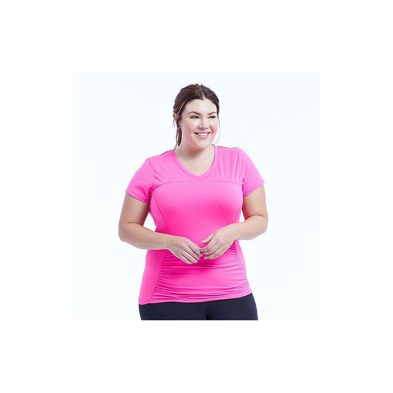 0cdfec26b57bc Plus Size Marika Curves Elizabeth Shirred Workout Tee