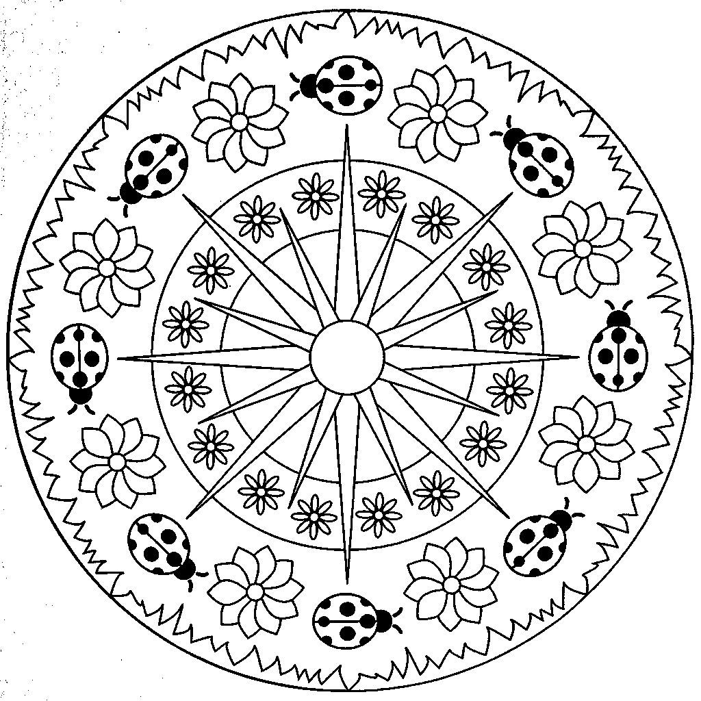 Square Mandala Coloring Picture For Kids
