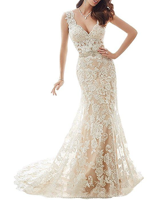 b0d142233a77 NANIYA Illusion Back Mermaid Wedding Dress for Bride Lace Formal Gown with  Train at Amazon Women's Clothing store: