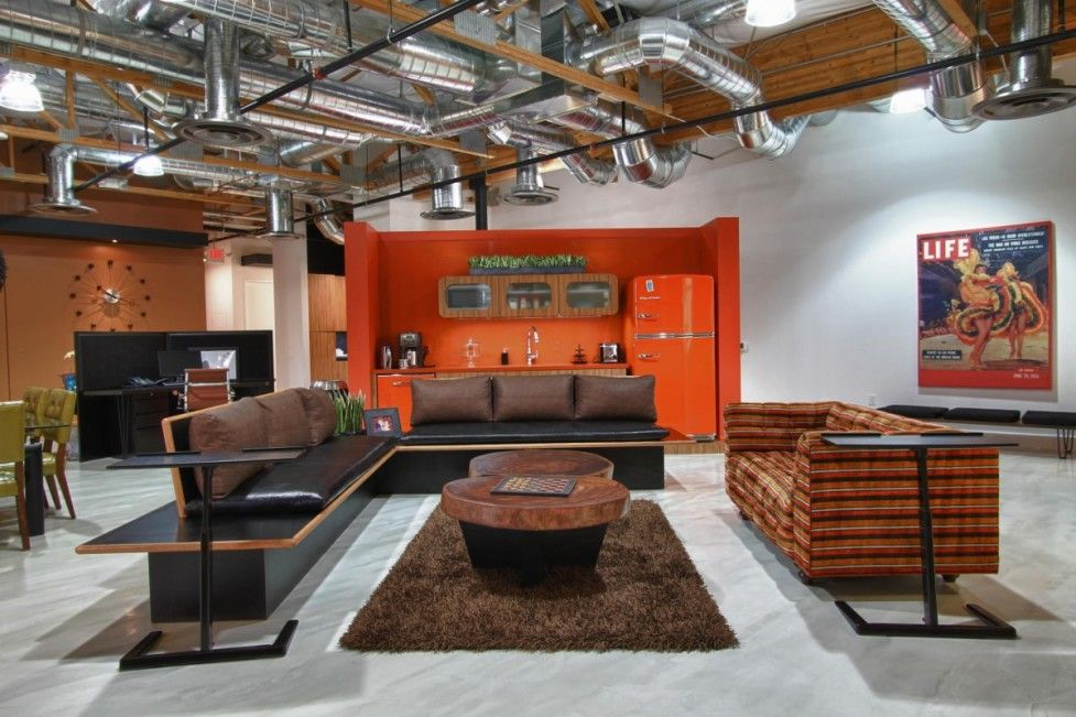 interiorindustrial style design idea for creative office lobby room with leather sofa and brown