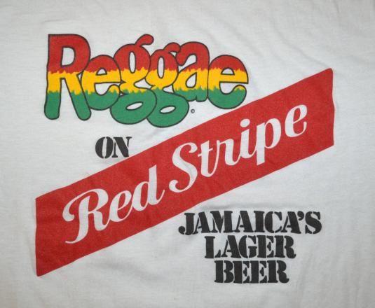 Vintage Reggae Red Stripe Jamaica Beer Rasta 420 T Shirt 80s Red Stripe Stripe Beer Tshirts