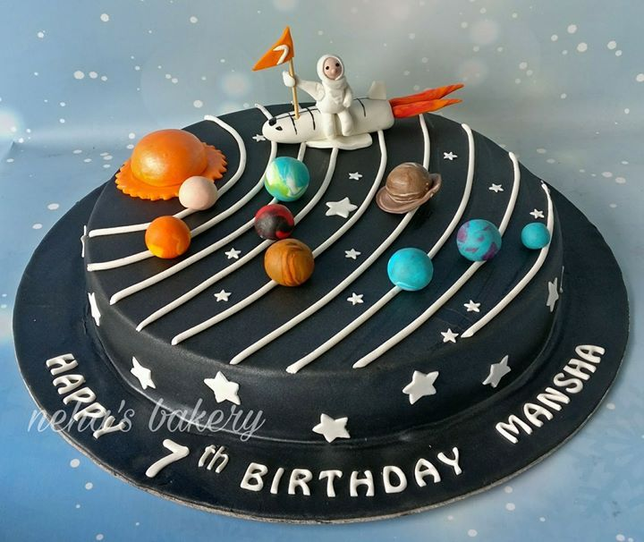 Space Theme Cake Solar System Cake With Images Themed Birthday