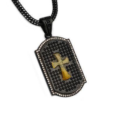 b0ace40ff7f62 TIGER EYE BLING CROSS CZ Stone Black Steel Mens Dog Tag Necklace ...