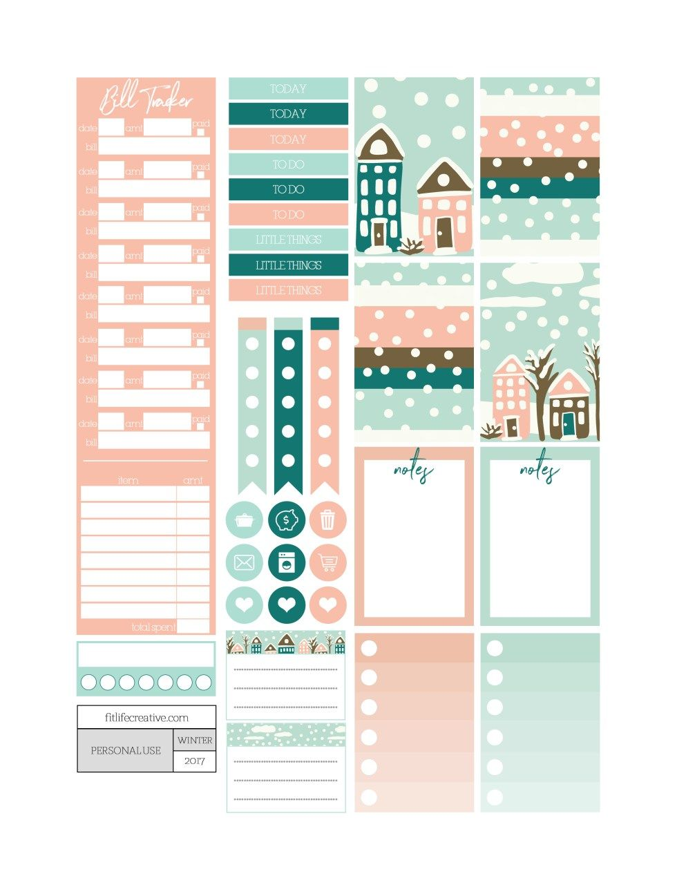 Winter Wonderland free printable monthly planner kit