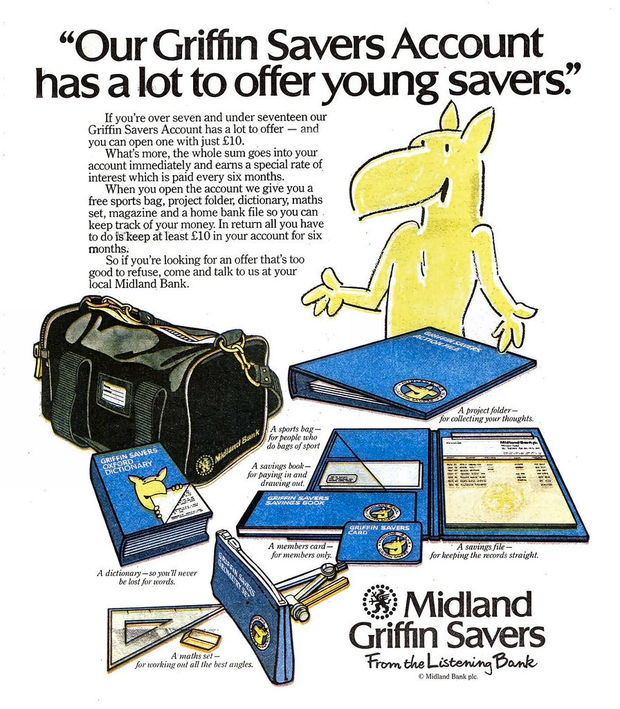Midland Bank Griffin Savers - when banks were 'nice'   Being a kid