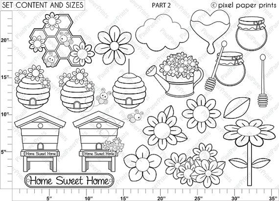 Busy Bees  Digital stamps  Bee stamps  Line art