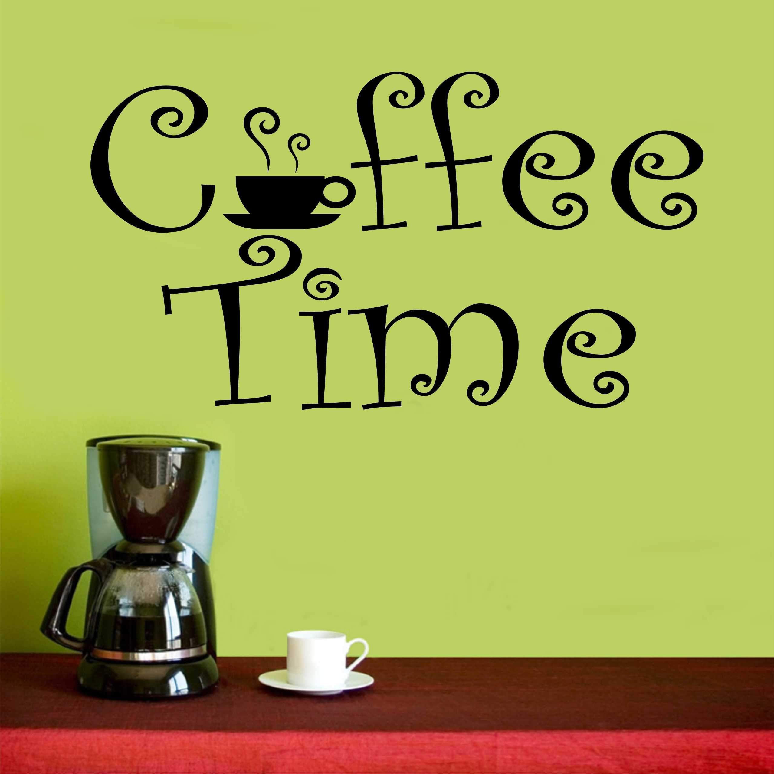 coffee wall decal coffee time whimsical farmhouse decor coffee quotes coffee time quotes on kitchen decor quotes wall decals id=69395