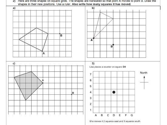 Translation Geometry Position of shape ks2 year 5 6 – Translation Maths Worksheet