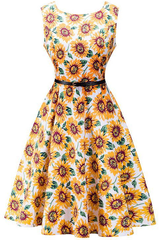 Womens Vintage Sunflowe Dress 50s 60s Cocktail Evening Swing Skater Tea Dresses