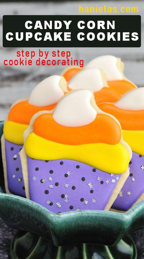 Candy Corn Cupcake Cookies | Haniela's