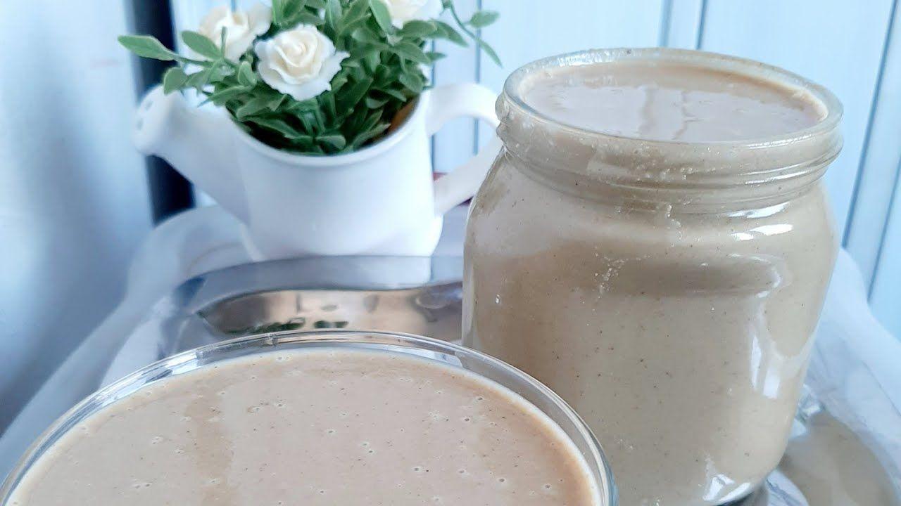 طريقه عمل الطحينه أو الراشي فلبيت بكل سهوله معemanabdullah Mason Jar Mug Mason Jars Glass Of Milk
