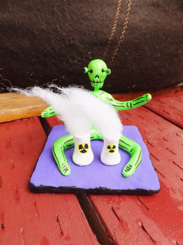 el titiritero nuclear dia de los muertos statue neon green figurine mexican inspired day of the dead skeleton halloween decoration