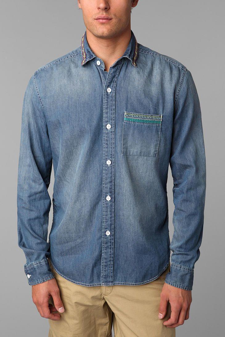 Urban Outfitters Koto Sashiko Denim Shirt in Blue for Men (LIGHT BLUE)   Lyst