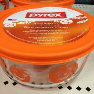 Halloween Pumpkin Pyrex! (Found at Target)..I bought the bat one but I wanna go back and get this one.