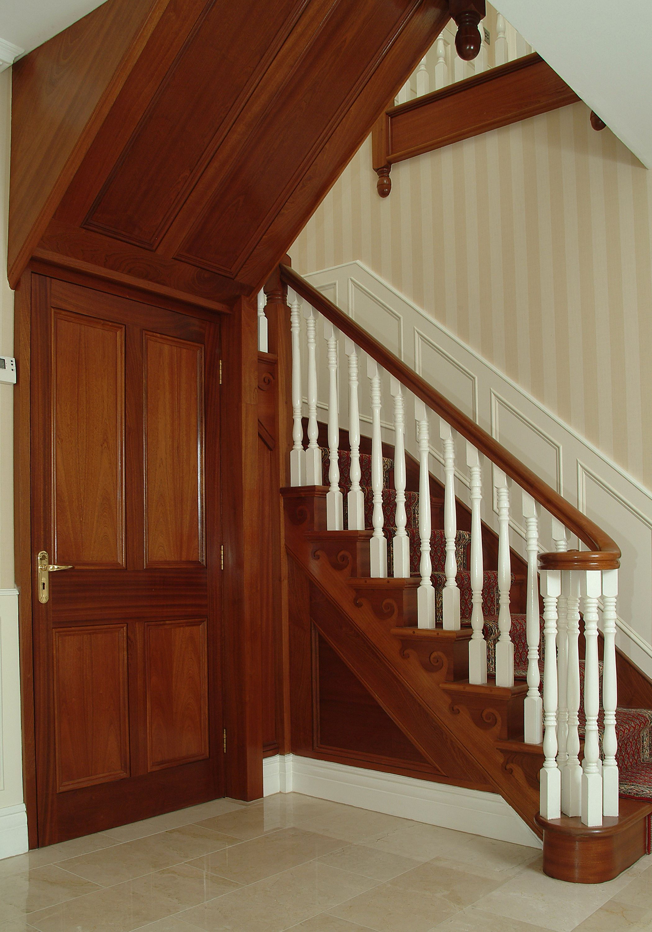 Best Mahogany Treads And Handrail With Painted Balusters Stairs Handrail Home Decor 400 x 300