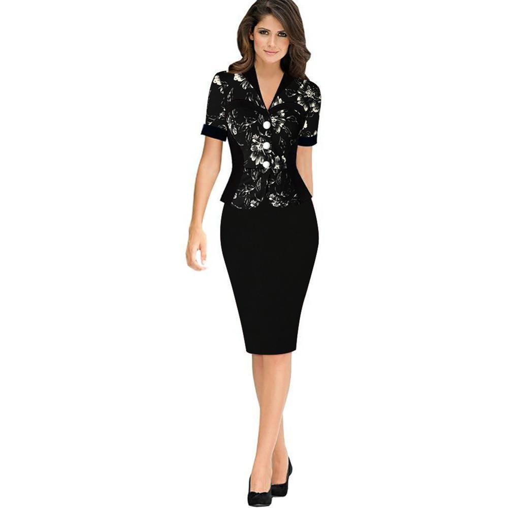 f13b37d43c4a9a Autumn Business Female Pencil Dress Elegant Lady Illusion Patchwork Sheath  Buttons Fitted Ruffles Women Bodycon Bandage Dress