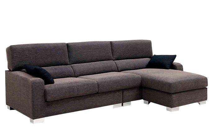 Chaise longue reclinable tela sofá madera de pino macizo y pouff