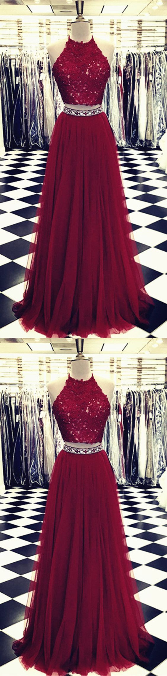 Burgundy lace crop top tulle prom dresses two piece evening gowns