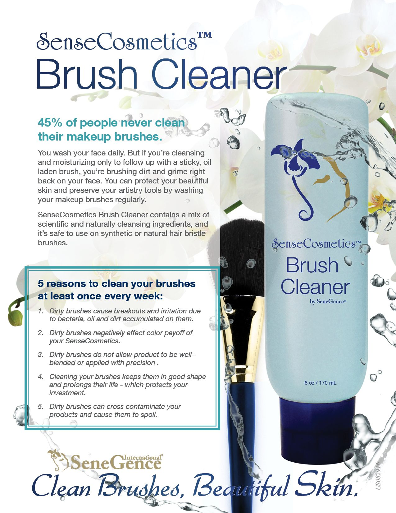 New & Improved SenseCosmetics Brush Cleaner - amazing makeup brush cleaner. 5 reasons to clean your makeup Brushes each week! *Shop now: www.
