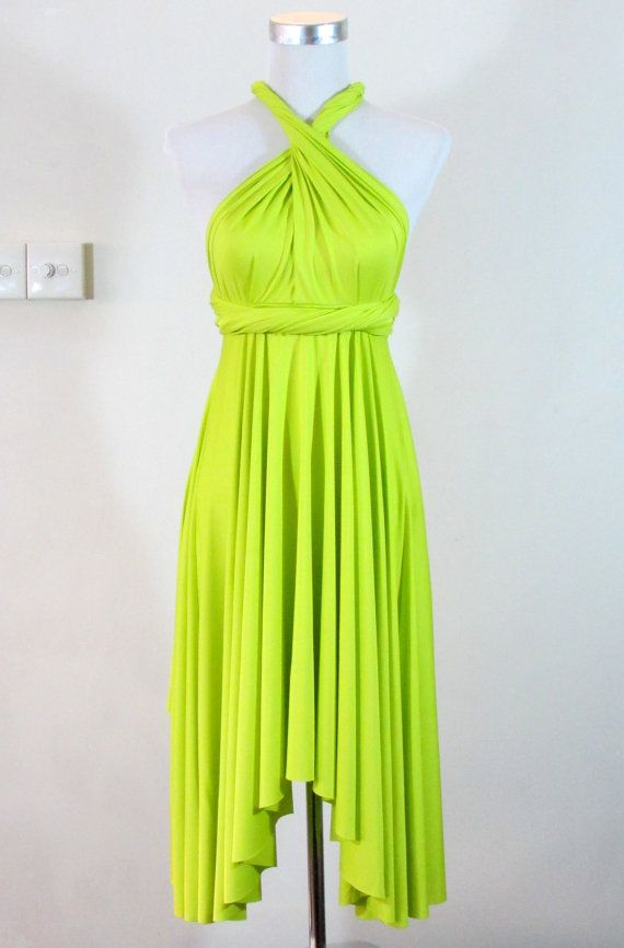 Summer day dress Convertible Dress in Neon Lime Green Infinity ...