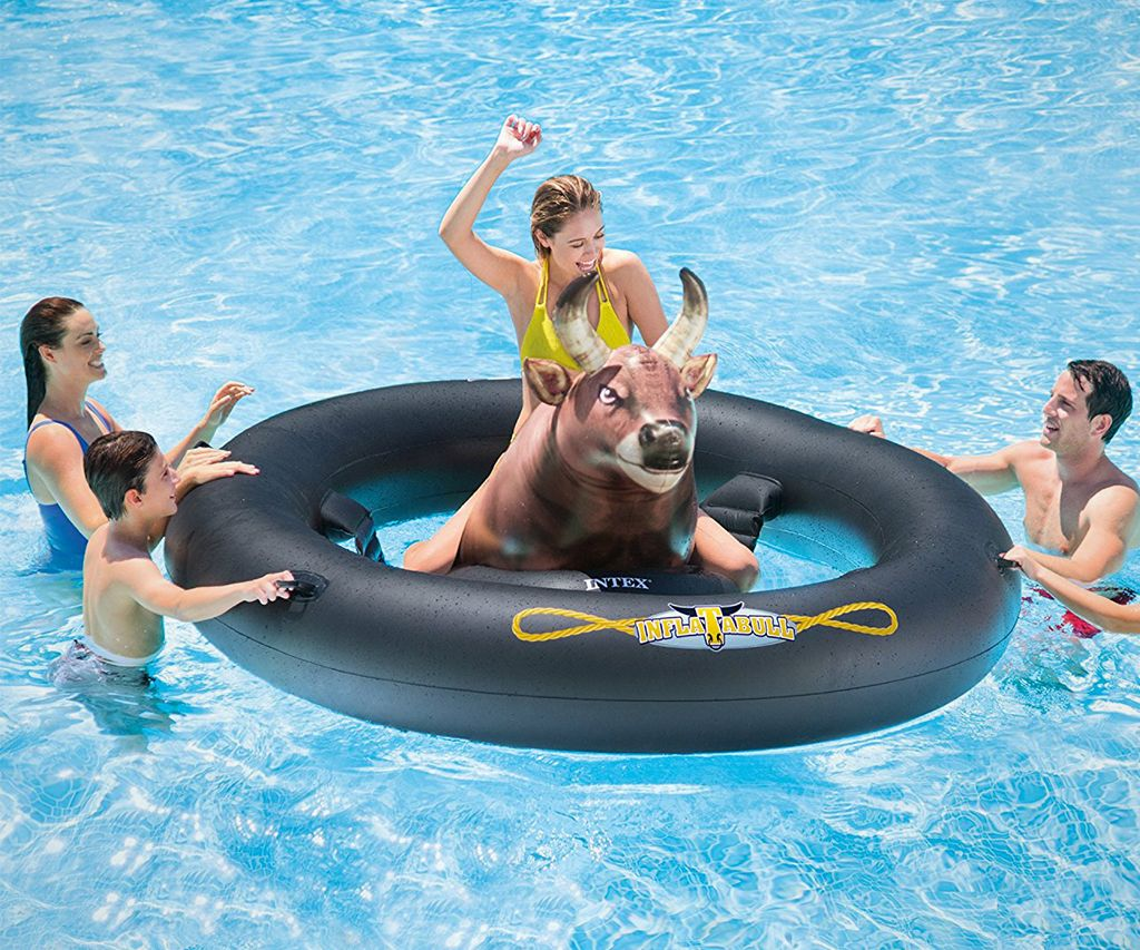 Enjoy a full bull-riding experience on water on this Inflatable Pool Tube with a Bull. on CoolShitiBuy.com . #BullRides #BullTube #Cool #CoolPoolTube #InflatablePoolTube #Inflatables #Pool #PoolAccessories #Summers #Swim #Swimming #ThisIsWhyImBroke #SportsandOutdoor