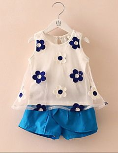 54a2f7d35 2016 Summer Style Baby Girls Clothing Set Sleeveless Flower Printed Vest+ Pant  Kids Chiffon Blouse Clothes Set