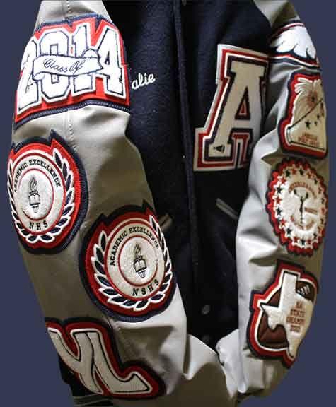 A Very Stylish Varsity Letter Jacket For Cheerleading By Customchenillepatches Com Varsity Jacket Outfit Varsity Letterman Jackets Letterman Jacket Ideas