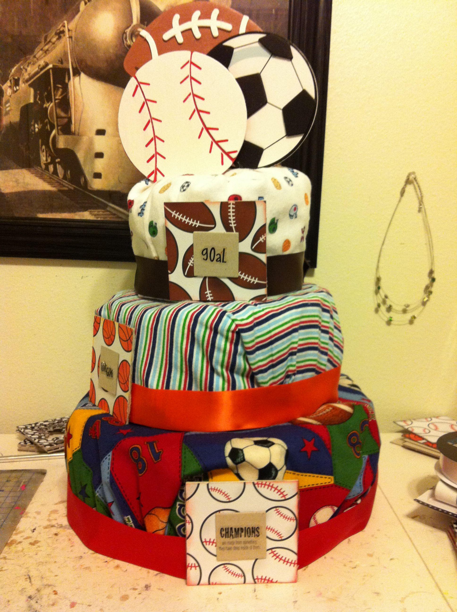 Baby boy sports diaper cake baby shower centerpieces