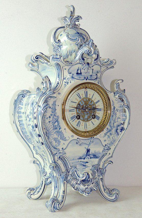 Royal Bonn Delft Mantel Clock Lot 211 White Clocks Clock Beautiful Clock