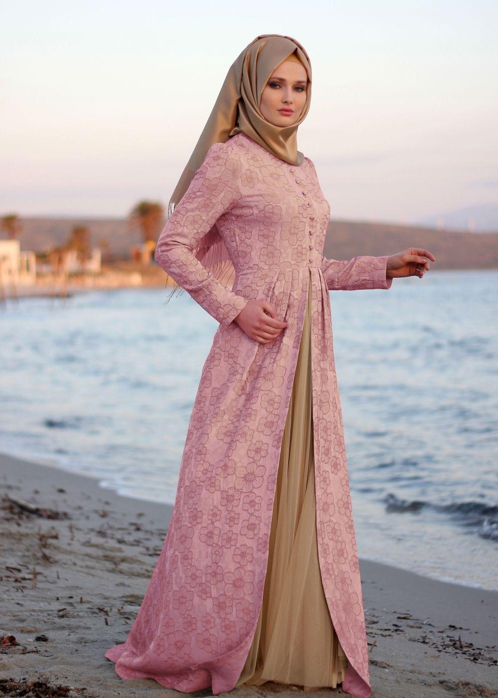T 6804 Famelin Jakarlı Düğmeli Abiye   Muslimah Fashion & Hijab ...