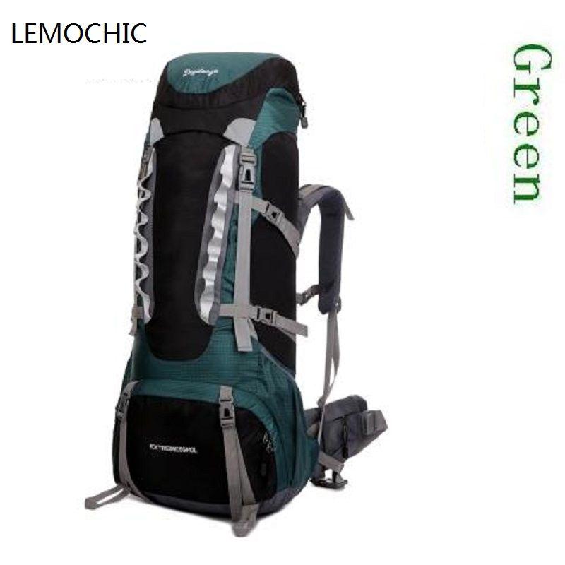 af77254138cd LEMOCHIC hiking outdoor backpacks camping sport bag waterproof with rain  cover canvas bag rucksack large capacity