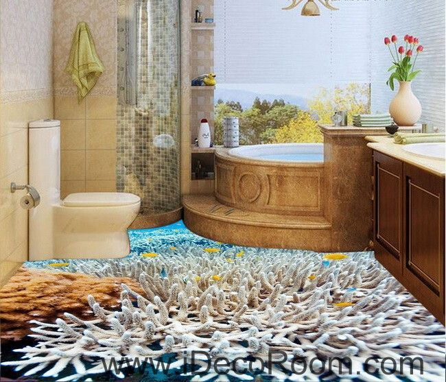 White coral under the sea 00026 floor decals 3d wallpaper for Kitchen wallpaper 3d