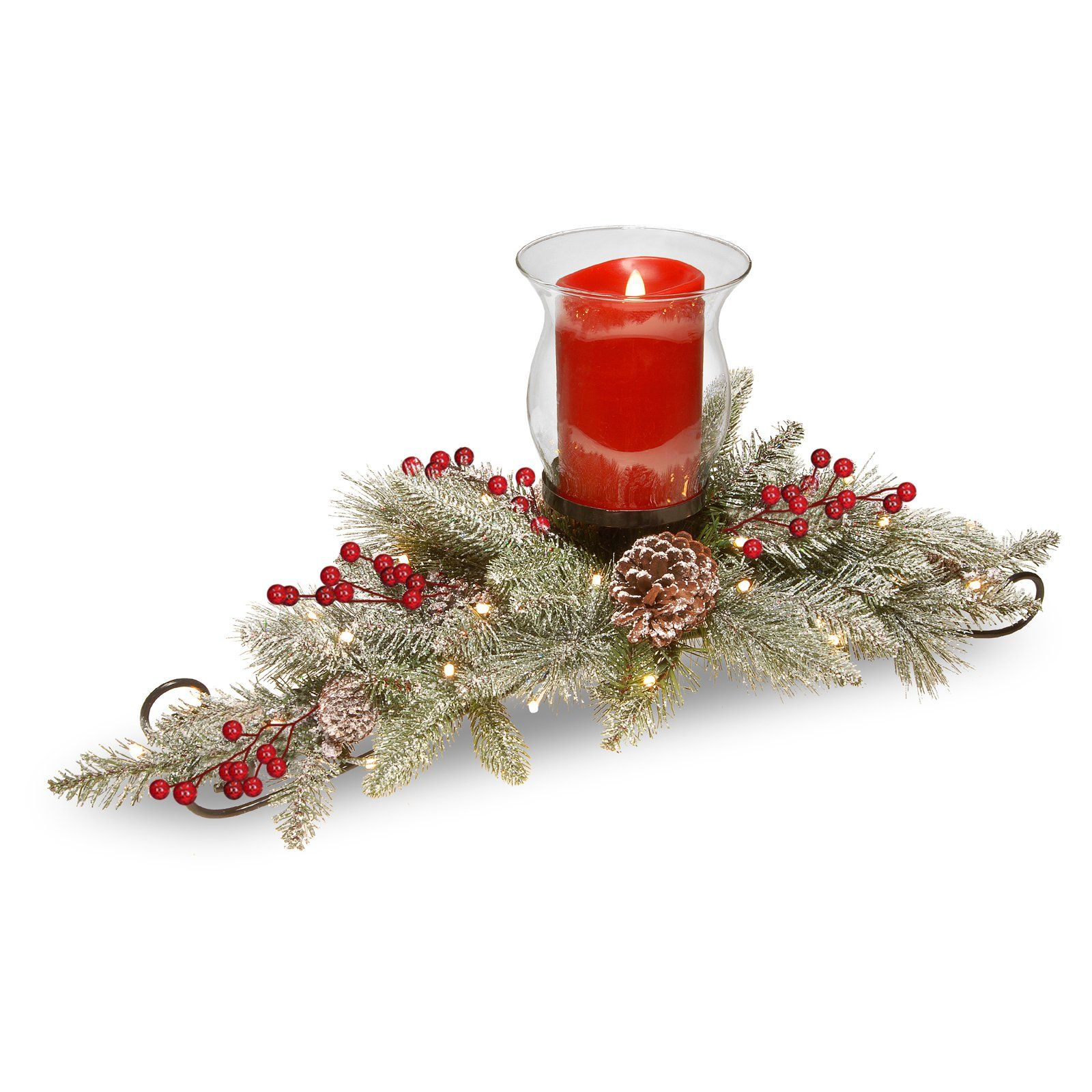 National Tree Company 30 in. Snowy Bristle Berry Candle