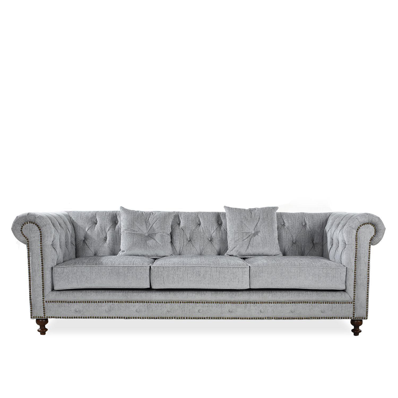 Sof chester de 3 plazas tapizado en poli ster relleno de espuma de alta densidad 30 kg m - Relleno de sofas ...