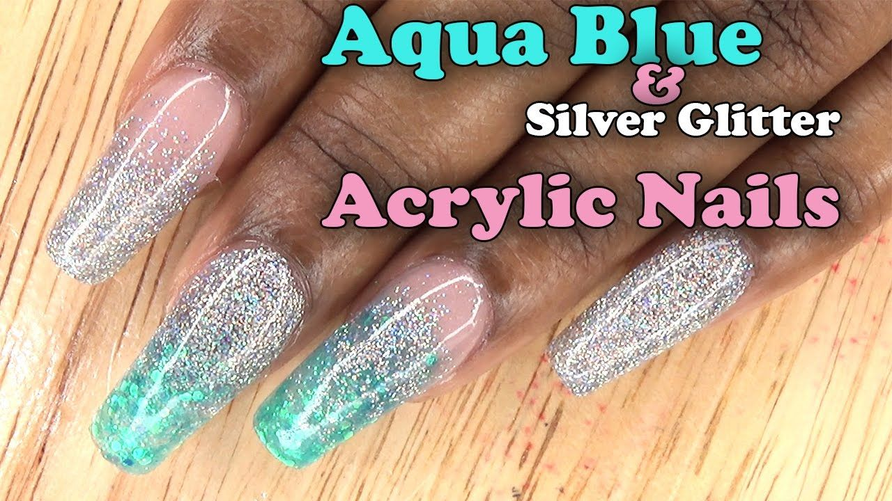 Aqua Blue and Silver Glitter Nails | Full set Acrylic Nails with ...